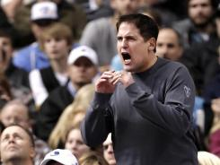 """Shark Tank"" judge and Dallas Mavericks owner Mark Cuban in the stands during an NBA game in December."