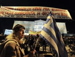 A Feb. 19 protest in front of Greece's Parliament against austerity measures approved by the government.