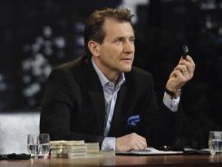 "Robert Herjavec on the set of TV's ""Shark Tank."""
