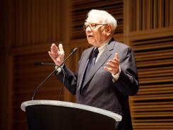 Warren Buffett, chairman of Berkshire Hathaway, speaks on the sale of the Omaha World-Herald to Berkshire Hathaway on Nov. 30, 2011 in Omaha, Neb.