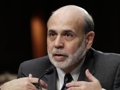 Federal Reserve Board Chairman Ben Bernanke testifies on Capitol Hill in Washington.