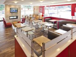 The interior of a remodeled Wendy's restaurant.