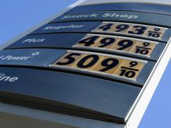 Gasoline prices displayed Feb. 23 at a Shell station in Los Angeles.