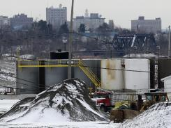 Against Youngstown, Ohio's skyline, a brine injection well owned by Northstar Disposal Services that uses fracking is seen on Jan. 4, 2011. Well operations were halted after a series of earthquakes.