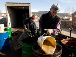 Cooking oil from restaurants in Aspen, Basalt and El Jebel, Colo., being collected for fuel in 2008.