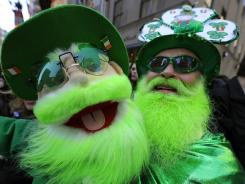 Dennis O'Mann, right, with his puppet during New York City's St. Patrick's Day Parade on March 17, 2011.