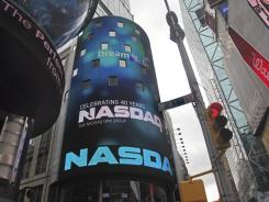 The Nasdaq stock market site building in Times Square in New York.