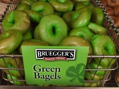 Bruegger's says it sold more than 100,000 green bagels last St. Patrick's Day.