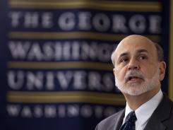 Federal Reserve Chairman Ben Bernanke speaks toa class at George Washington University in Washington March 20, 2012.
