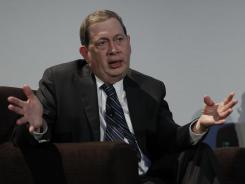 Gilead Sciences CEO John Martin speaks at Stanford University in Palo Alto, Calif., on March 9.