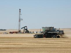 An oil well by a farm in Tioga, N.D., northwest of Bismarck.