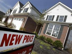 Newly constructed homes are seen for sale with a new price in Pepper Pike, Ohio in March 2012.
