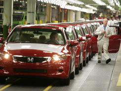 Honda Accord coupes move down one of the assembly lines in 2007 at Honda's Marysville Auto Plant in Ohio.