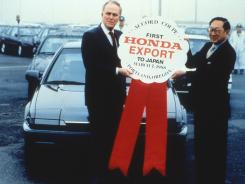 On March 7, 1988, Sen. Bob Packwood, R-Ore., and Tetsuo Chino, president of Honda North America, celebrated the fact that Honda exported its first U.S.-made cars, Accord coupes, from the U.S. to Japan.