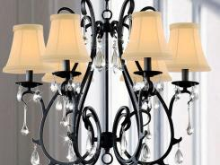 6 Light Curved Iron and Crystal Chandelier.