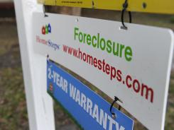 A foreclosure sign outside a house in Tampa.