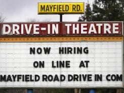 A help-wanted sign at the Mayfield Drive-In movie theater in Chardon, Ohio.