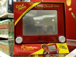 An Etch A Sketch 'classic' for sale at FAO Schwarz in New York City.