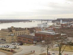 A view of the Mississippi river and downtown Burlington, Iowa.