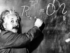 If you have to be a teacher, be a teacher. Albert Einstein writes out an equation for the density of the Milky Way at the Carnegie Institute in Pasadena, Calif., on Jan. 14, 1931.