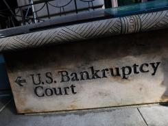 A sign leading to U.S. Bankruptcy Court in lower Manhattan in New York City.