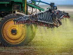Herbicide is sprayed on a soybean field in western Brazil on Jan. 30, 2011.