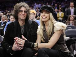Howard Stern and his wife Beth Ostrosky at an NBA basketball game in New York's Madison Square Garden on Feb. 29.