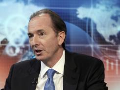 Morgan Stanley CEO James Gorman is interviewed by Charlie Gasparino on the Fox Business Network, in New York on April 19, 2012, to discuss the firm's first-quarter results.
