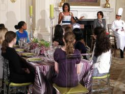 First lady Michelle Obama speaks during a preview of the state dinner in honor of British Prime Minister David Cameron on March 14.