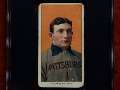 A rare 1909 Honus Wagner baseball card, one of the most sought after sports collectibles in the world, in a protective case in Sunset Hills, Mo., photographed on March 26, 2012.