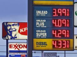 Gas prices posted in Breezewood, Pa., April 9, 2012.
