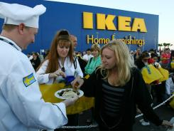 A chef serves Swedish meatballs at the 2007 opening of an Ikea near Orlando.