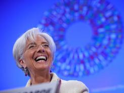 Christine Lagarde, International Monetary Fund Managing Director, holds a press conference on April 19, 2012, at IMF Headquarters in Washington, D.C. to discuss the Eurozone debt crisis.