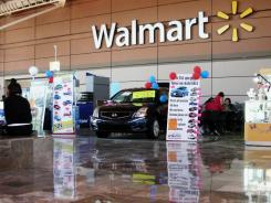 WalMart store signage is seen from within a store in Mexico City.