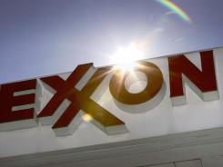 An Exxon logo at a gas station in Dallas.