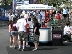A file photo of a Dippin' Dots ice cream stand at Hersheypark in Hershey, Pa.