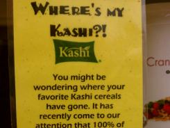 A shelf tag explains to customers why the Green Grocer natural and organic food store in Portsmouth, R.I., no longer carries Kashi cereals.
