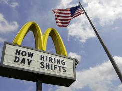 A sign advertises job openings at a McDonalds restaurant in Chesterland, Ohio, May 2, 2012.
