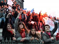 French citizens celebrate at Place de la Bastille in Paris after Francois Hollande wins the French Presidential Elections on May 6, 2012.