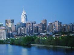Philadelphia's skyline is shown in the distance. Pennsylvania is among the states where people are more likely to improve their economic standing.