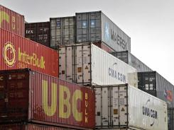 Shipping containers pile up in Duisburg, Germany, May 15, 2012. Germany's economy grew 0.5% in the first quarter of 2012.