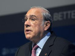 OECD General Secretary Angel Gurria presents the 2012 Economic Outlook at the OECD headquarters in Paris on May 22, 2012.