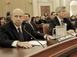 Goldman Sachs Group CEO Lloyd Blankfein (left) and JPMorgan Chase CEO James Dimon testify on Capitol Hill in January 2010 before the Financial Crisis Inquiry Commission.