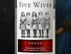 The label on a bottle of Five Wives Vodka.