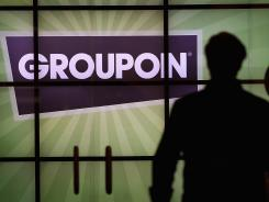 The Groupon logo in the lobby of the company's headquarters in Chicago.