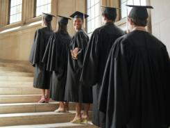 Graduates waiting in line to receive their diplomas.