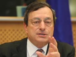 President of the European Central Bank Mario Draghi reports to the Economic Committee on May 31, 2012.