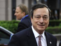 European Central Bank President Mario Draghi arrives for a meeting of European Union leaders in Brussels on May 23, 2012.
