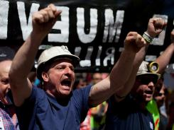 Miners protest against cuts in government subsidies on May 31, 2012, in Madrid, Spain.