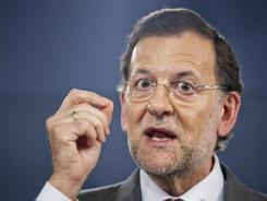 Spain's Prime Minister Mariano Rajoy speaks during a press conference after a meeting with Netherlands' Prime Minister Mark Rutte at the Moncloa Palace in Madrid on Thursday.